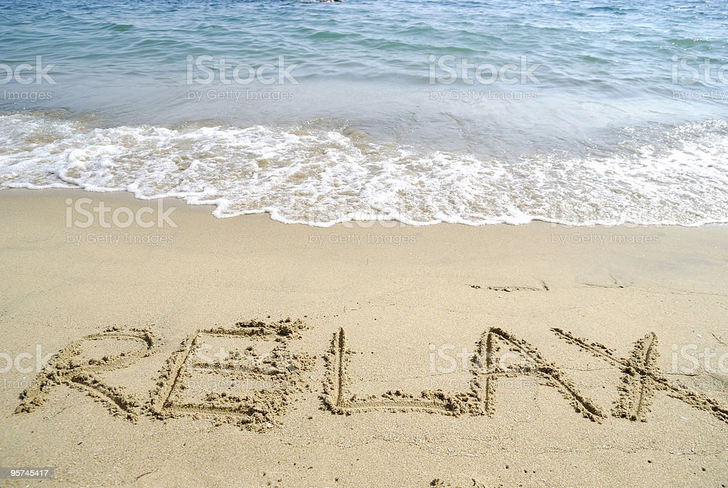 relax at sand stock photo