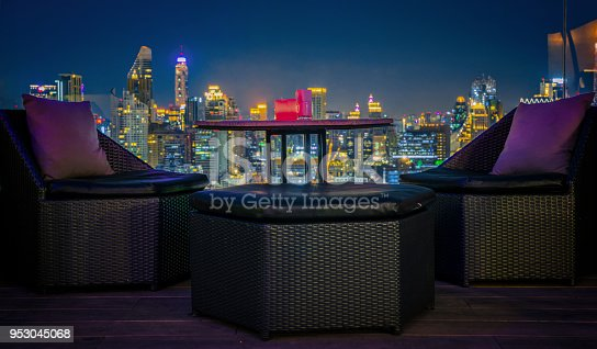 istock Relax coner in roof top bar and restaurant 953045068
