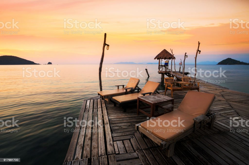 Relax corner in Koh Mak pier in Mak island stock photo
