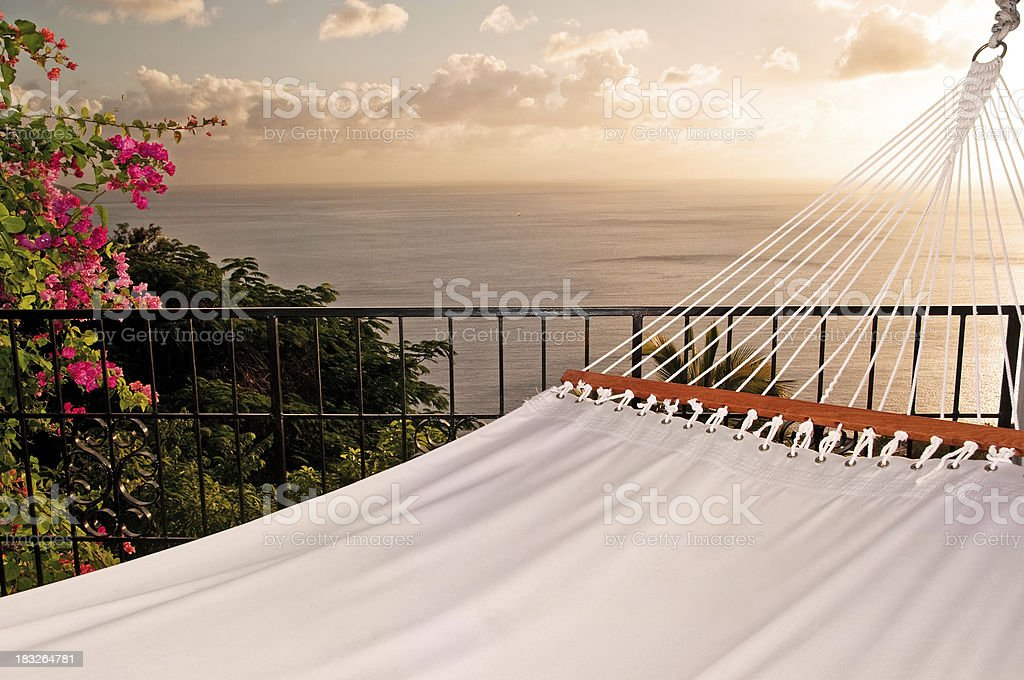 Relax in paradise on perfect hammock royalty-free stock photo