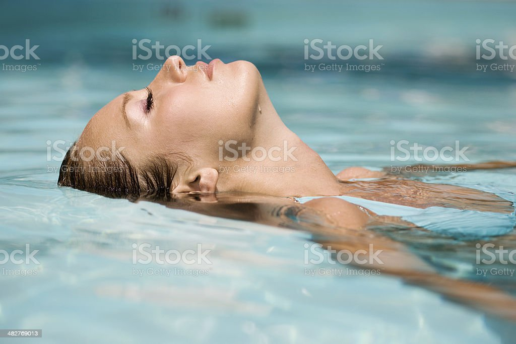 Relax in swimming pool stock photo