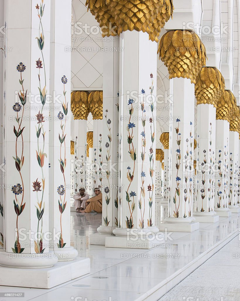 Relax in the Sheikh Zayed Grand Mosque royalty-free stock photo