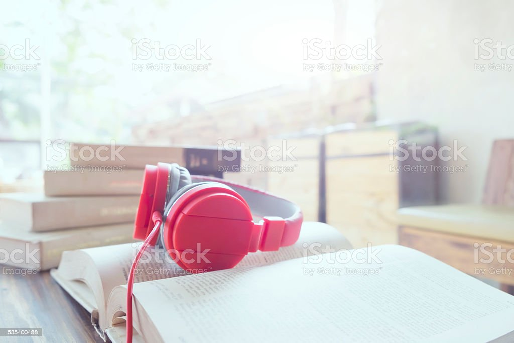 Relax listen music copyspace background. stock photo