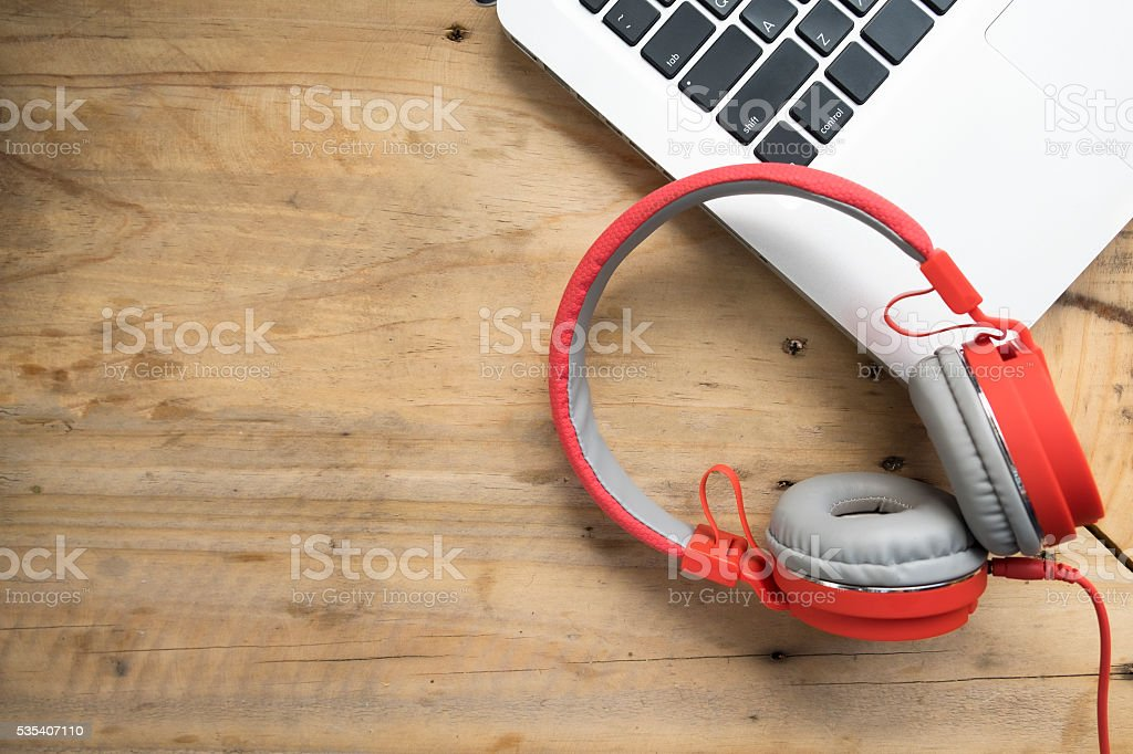 Relax listen music copyspace background. stock photo