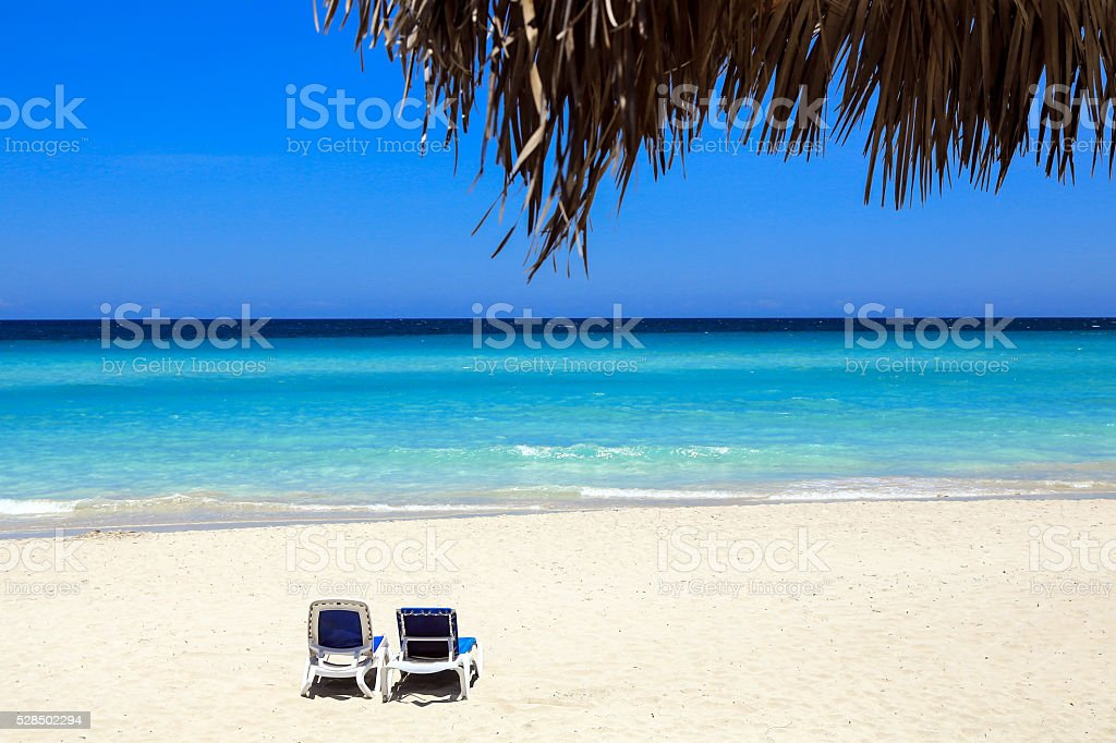 Relax on a caribbean remote beach stock photo