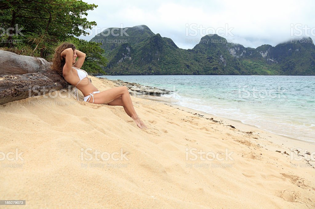 Relax on exotic beach royalty-free stock photo