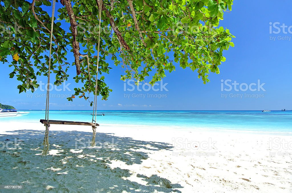 Relax On the Blue Beach stock photo