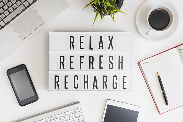 relax, refresh and recharge in office - taking a break stock photos and pictures