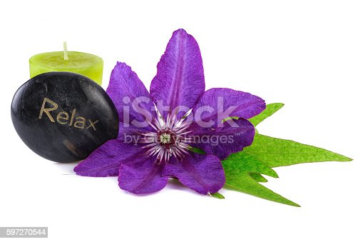 Relax Wellness Tropical Flower With Spa Stone And Candle Stock Photo & More Pictures of Beauty