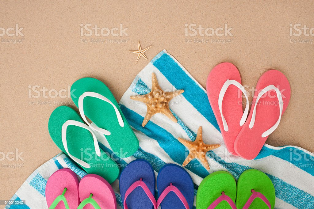 Relax with all family on sunny summer day at sea beach. Image of...