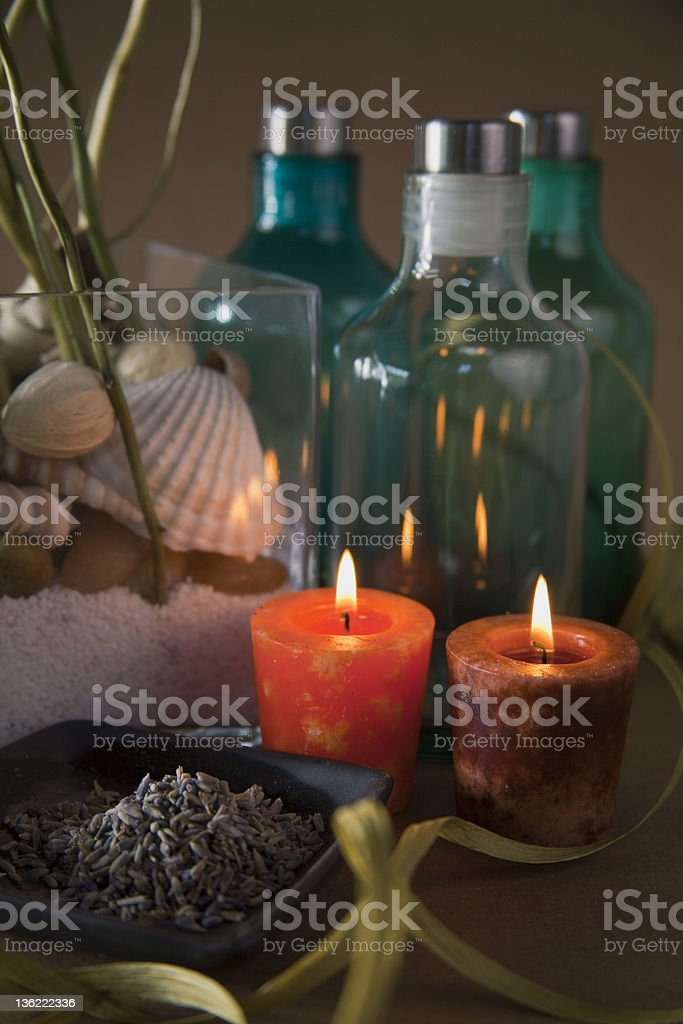 Relax with Spa Candles and plant royalty-free stock photo