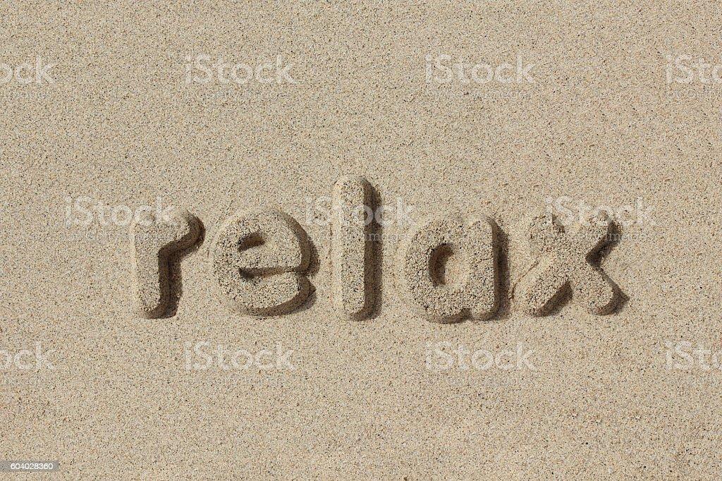 Relax written in sand letters - foto de stock