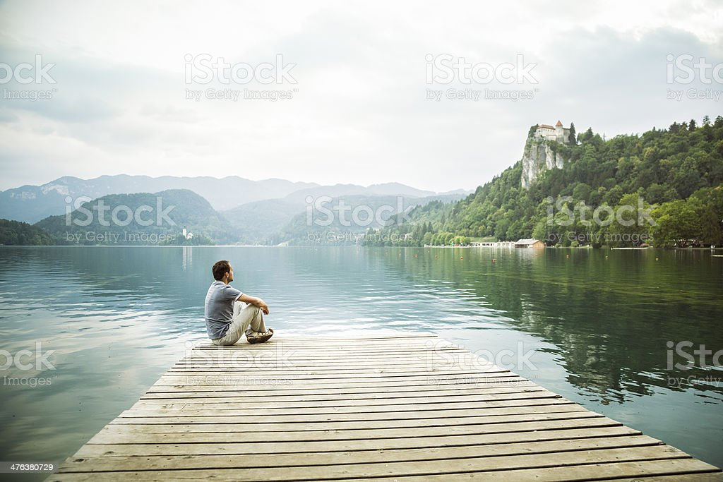 Relaxation at the lake  (Bled, Slovenia) royalty-free stock photo