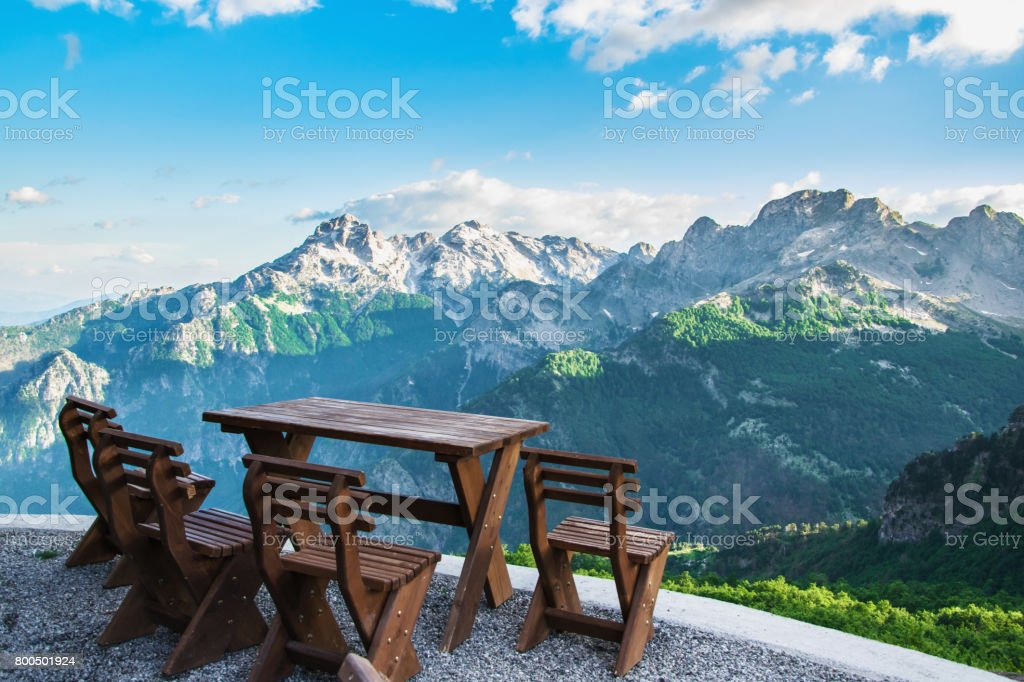 Relaxation at  the top of the mountain stock photo
