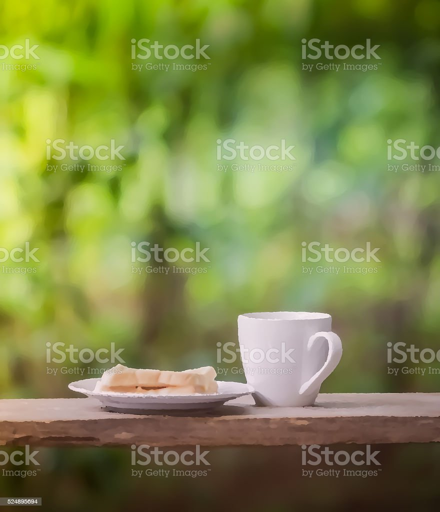 relaxation corner with coffee  bread and book stock photo