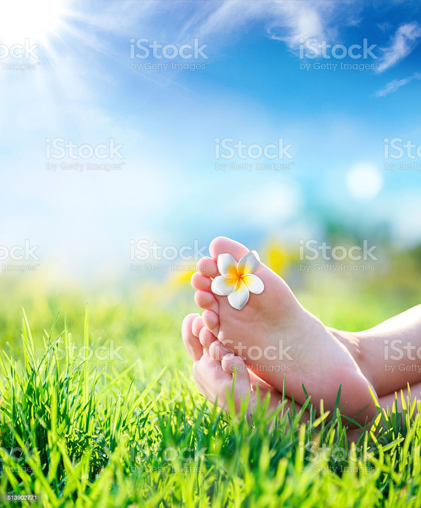 relaxation in touch with nature - spring background stock photo