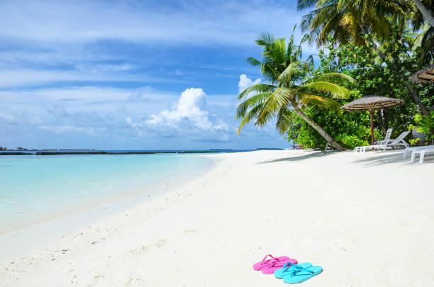 entspannung im tropischen paradiesstrand - flitterwochen flip flops stock-fotos und bilder
