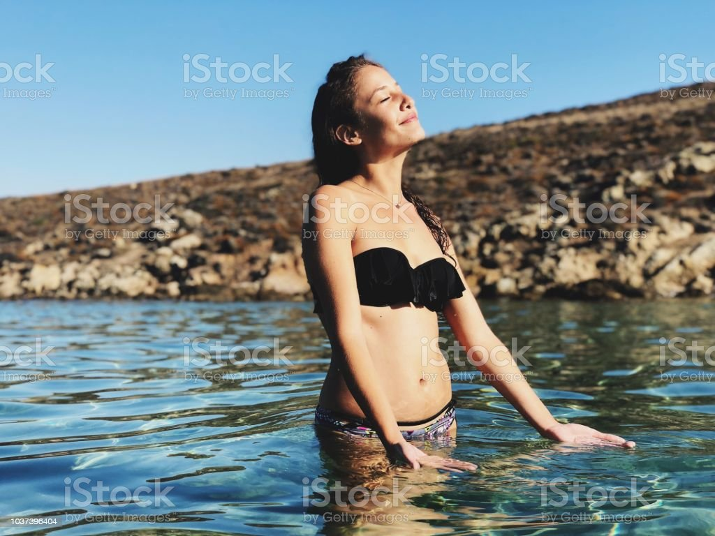 Relaxation in water stock photo