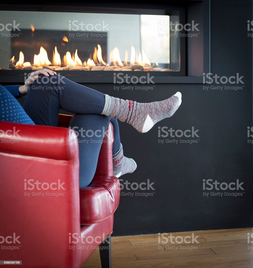 Relaxation near Fireplace - foto de stock