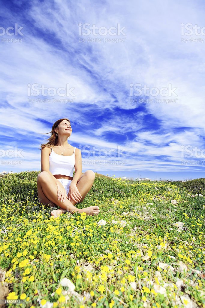 Relaxation on the meadow. royalty-free stock photo