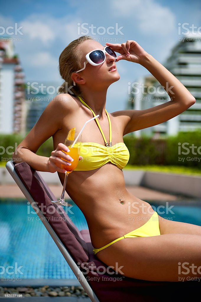 Relaxation on the pool royalty-free stock photo