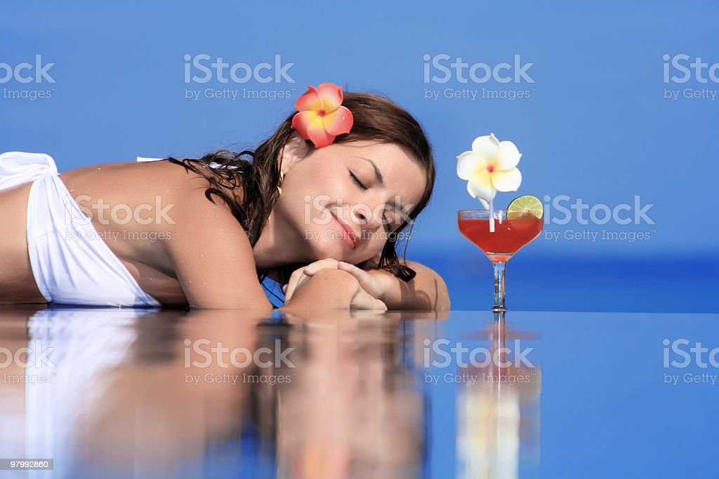 Relaxation on the pool. royalty free stockfoto