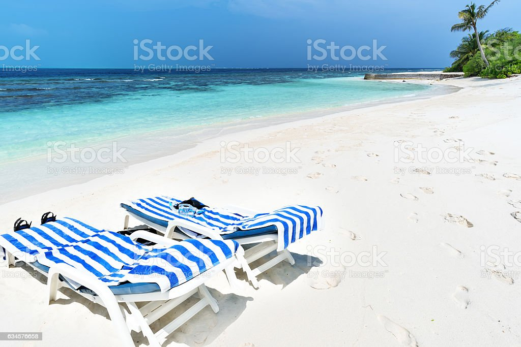 Relaxation on the tropical beach stock photo