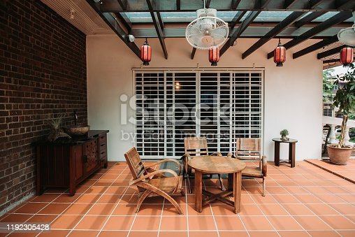 wooden table, chair, red lantern