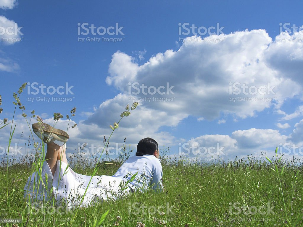 Relaxation under blue sky royalty-free stock photo