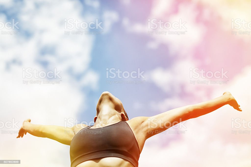 relaxation under the sun. healthy lifestyle concept. stock photo