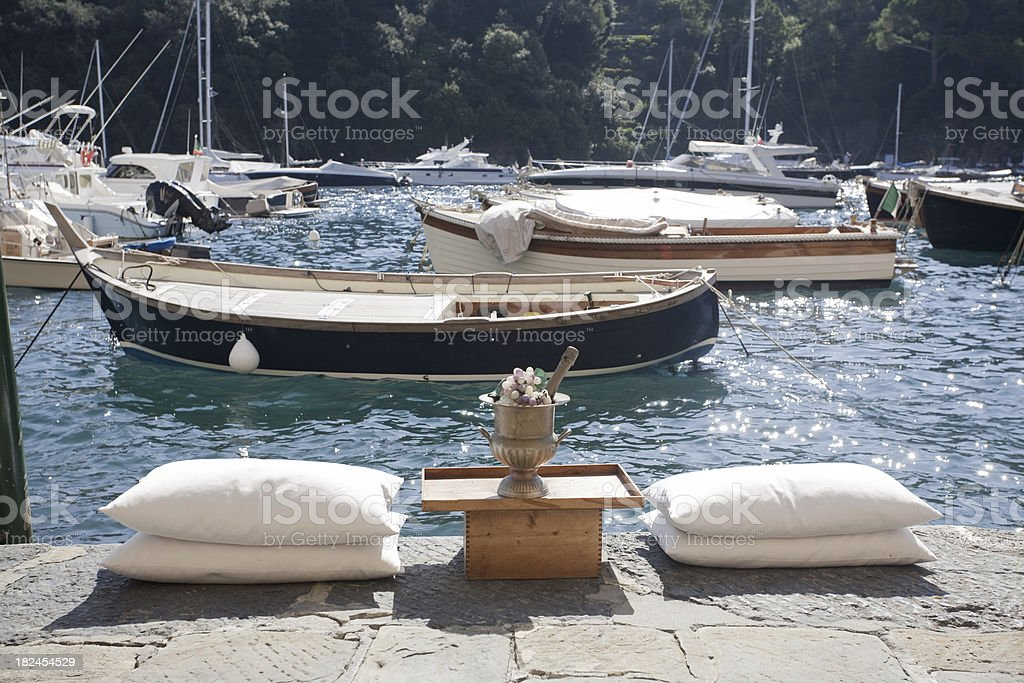 Relaxation with champagne at Portofino royalty-free stock photo