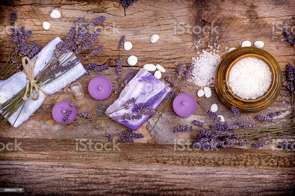 Relaxation with lavender products royalty-free stock photo