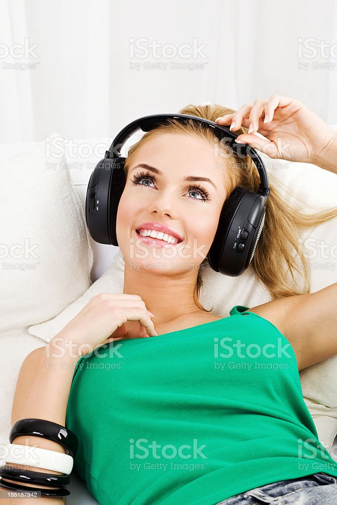 Relaxation with music royalty-free stock photo