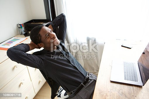 istock relaxed african american businessman sitting at desk with hands behind head 1036091716