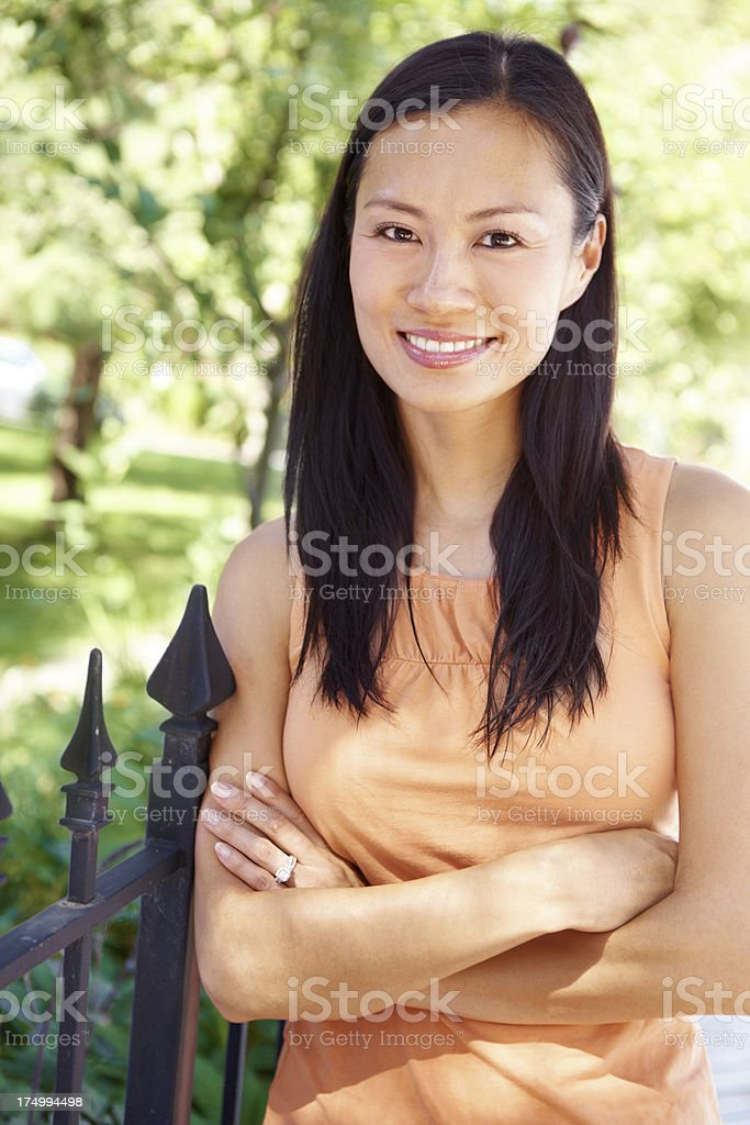 Relaxed and content royalty-free stock photo