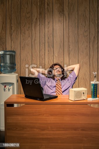 618210072 istock photo Relaxed and Happy Shaggy Looking Office Worker Computer 155439213