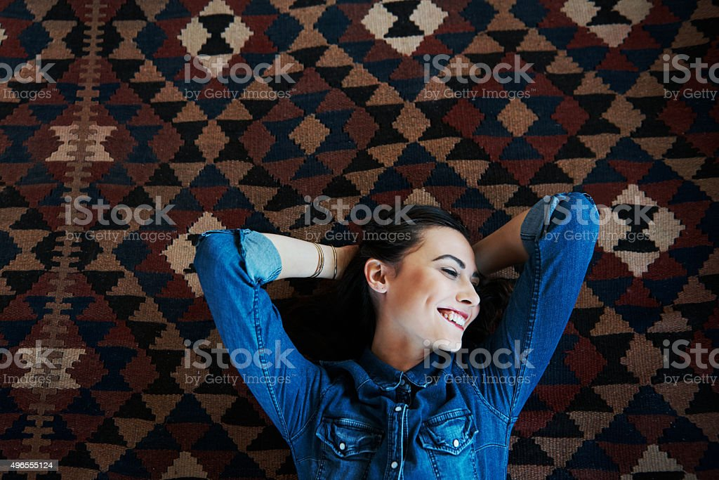 Relaxed and refreshed stock photo