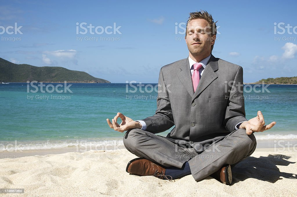Young Attractive And Happy Man Doing Yoga Sitting In Lotus