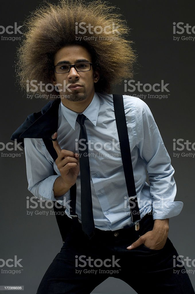 relaxed businessman with afro hair style royalty-free stock photo