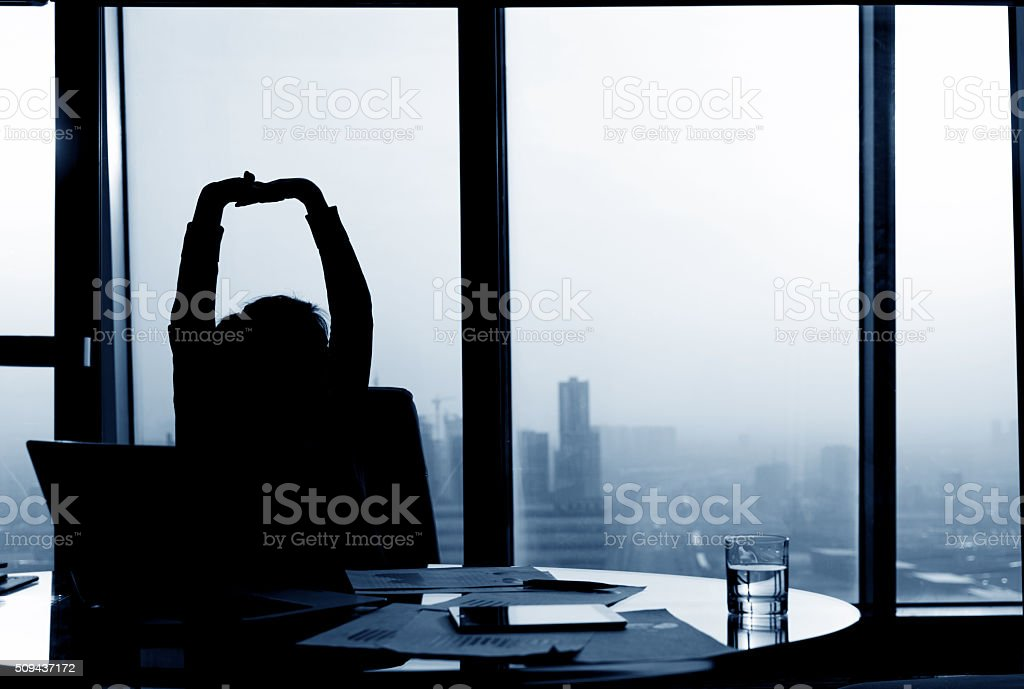 Relaxed Businesswoman stock photo