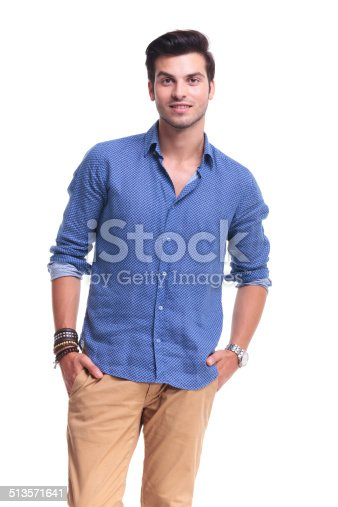 istock relaxed casual man standing with hands in pockets 513571641