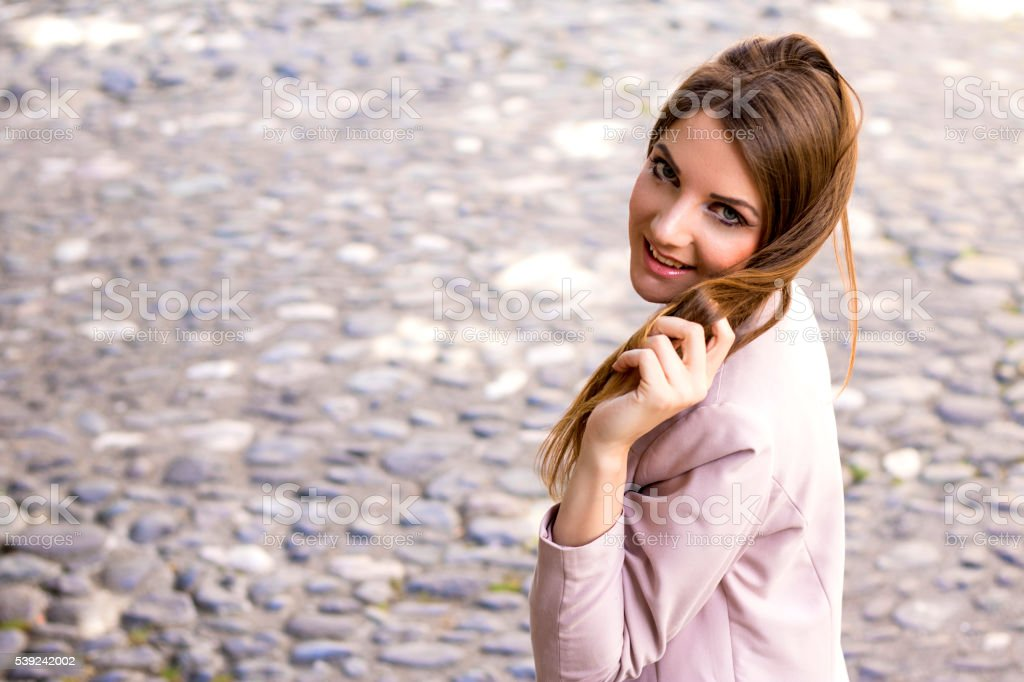 Relaxed casual portrait of attractive woman royalty-free stock photo