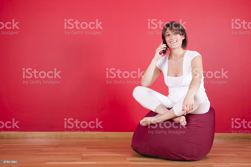 Relaxed conversation on the telephone royalty-free stock photo
