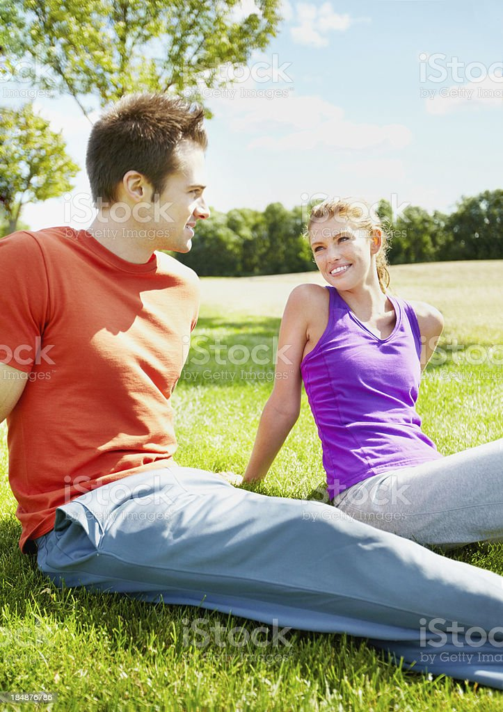 Relaxed couple in park royalty-free stock photo