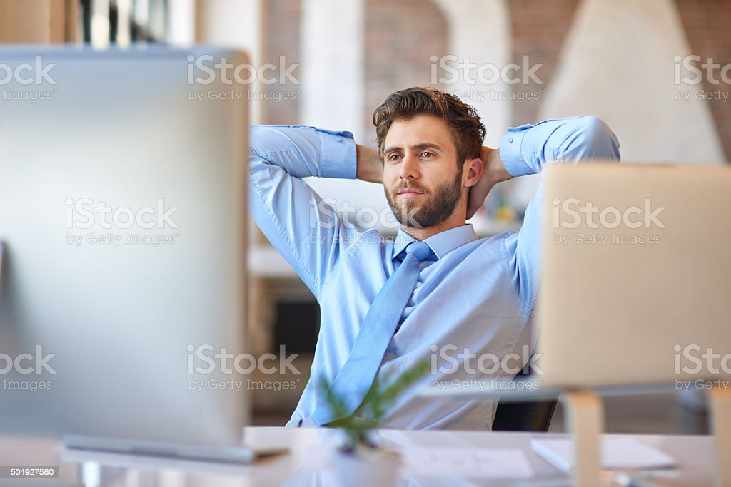 Relaxed day in the office stock photo