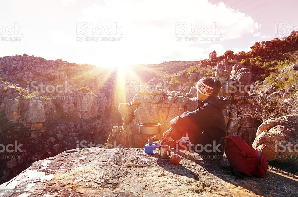 relaxed hiking woman stock photo
