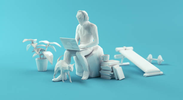 Relaxed Home Office Working. Papercraft 3d Concept stock photo
