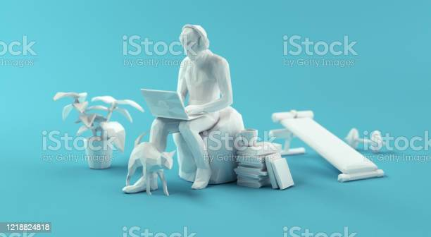 Relaxed Home Office Working Papercraft 3d Concept Stock Photo - Download Image Now