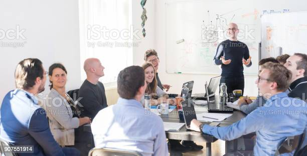 Relaxed informal it business startup company team meeting picture id907551914?b=1&k=6&m=907551914&s=612x612&h=eib3ndervtt dakzegko 86e8mn57c1srd4 fg1ln2k=