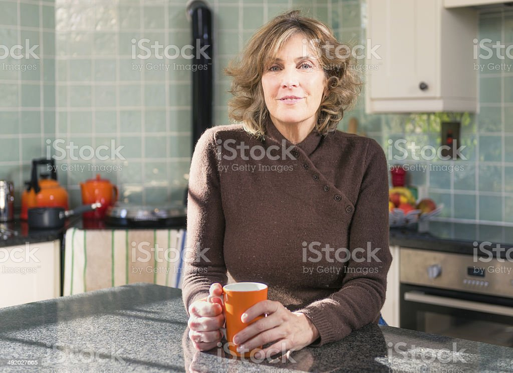 Relaxed kitchen portrait stock photo